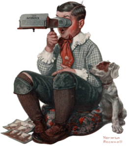 Boy with Stereoscope by Rockwell
